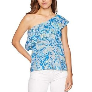 LILLY PULITZER Matteo Salty Seas One Shoulder Top